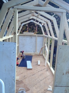 Basic framing of walls and roof  in progress.