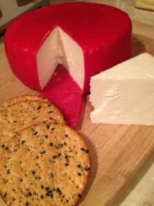 A basic white cheddar made with our goat milk. Oh. So. Good.