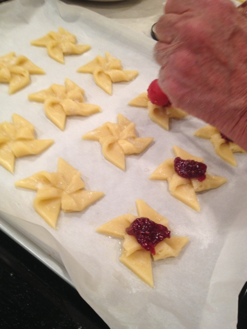 These pinwheel cookies are delicious and kind of cool - but fiddly! Given how many we were trying to make, we used a  handy dandy jam cookie making device for the next number of batches.