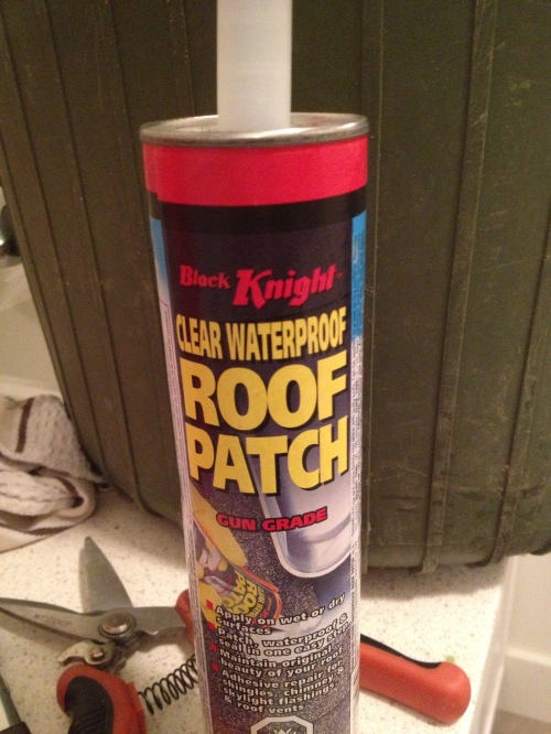 Roof Patch goop - can be applied wet - guaranteed to stop leaks. We also added more plumber's tape for good measure.