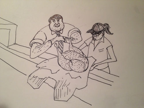 Dad, of course, found this scenario highly amusing... out came the sketchbook as we were waiting for our flight.