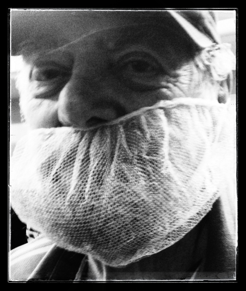 Dad in his beard net, a sight I never thought I'd see!