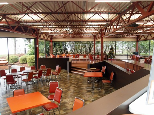 The coffee shop at the Institute of Ocean Sciences - includes a lovely view past arbutus trees over the water...