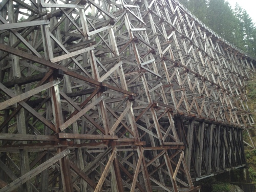 The Kinsol Trestle on Vancouver Island is the largest remaining wooden trestle in the Commonwealth - the recently rebuilt and refurbished structure contains 60 percent of the timbers from the original completed in 1920.