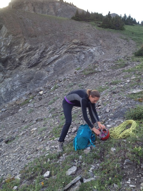 Packing up the gear at the top of the scree slope