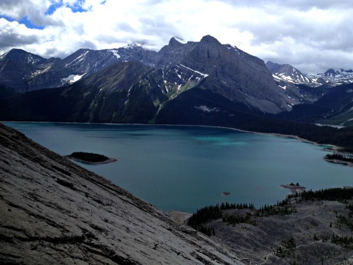 Looking to our right, the slab and, beyond that, Upper Kananaskis Lake.