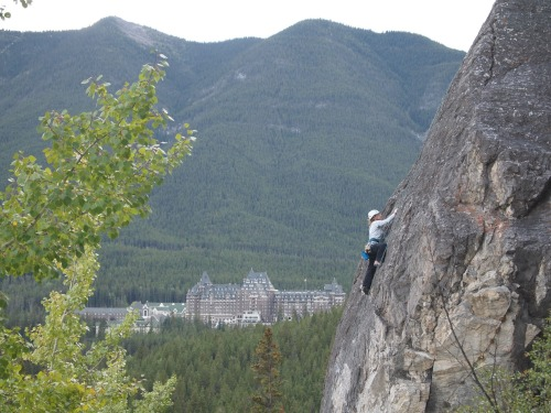 In Banff, met up with a friend from Australia and spent an afternoon playing about - can you beat that backdrop? (Black Band, Tunnel Mountain)
