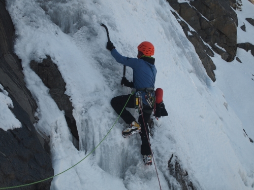 Fabio leading up one of the lower pitches Cascade
