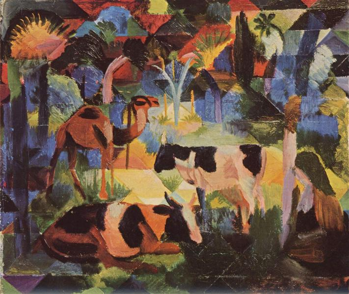 august macke 1914 landscape-with-cows-and-a-camel.jpg!Large