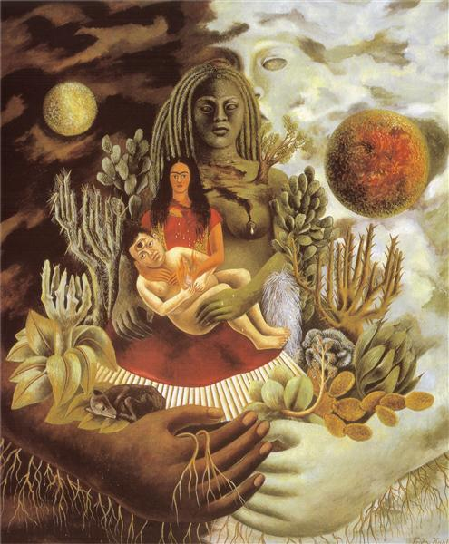 Frida Kahlo the-love-embrace-of-the-universe-the-earth-mexico-myself-diego-and-señor-xólotl-1949.jpg!Large