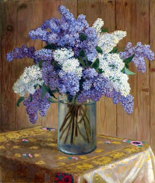 nikolay bogdanov-belsky still-life-with-lilacs