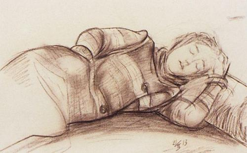 sleeping-woman-1913 kuzma petrov-vodkin