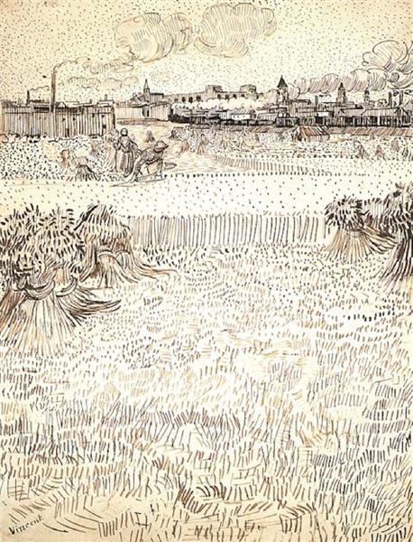 Van Gogh wheat-field-with-sheaves-and-arles-in-the-background-1888